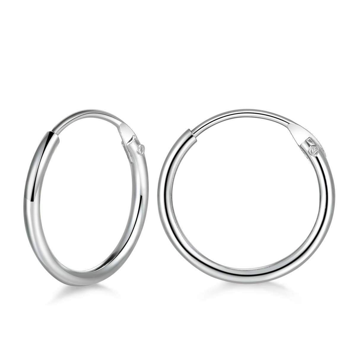 947c4297b Amazon.com: 925 Sterling Silver 10mm Small Hoop Earrings Hypoallergenic  Unisex Endless Cartilage Earrings Body Piercing Nose Lip Rings for Women  Men Girls: ...