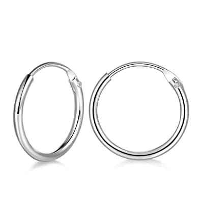 149c1fe9e 925 Sterling Silver 10mm Small Hoop Earrings Hypoallergenic Unisex Endless  Cartilage Earrings Body Piercing Nose Lip