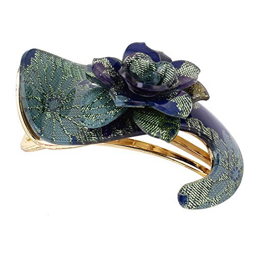 Lady Blue Accent Fleur d'or ton Alligator Barette pince à cheveux - Dor Accent