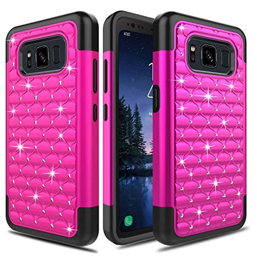 Galaxy S8 Active Case, Elegant Choise Hybrid Slim Dual Layer Armor Studded Rhinestone Bling Diamond Shockproof Rugged Protective Cover Case for Samsung Galaxy S8 Active 2017 Release - Case Silicone Cover Rhinestone