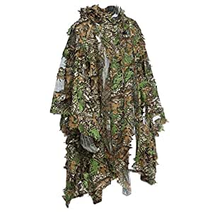 3D Jungle Sniper Set Hunting Camouflage Camping Birdwatching Poncho Ghillie Suit