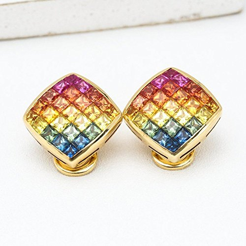 Rainbow Sapphire Diamond Orientation 18K Gold Earrings (4.47ct (Gold Rainbow Sapphire Ring)