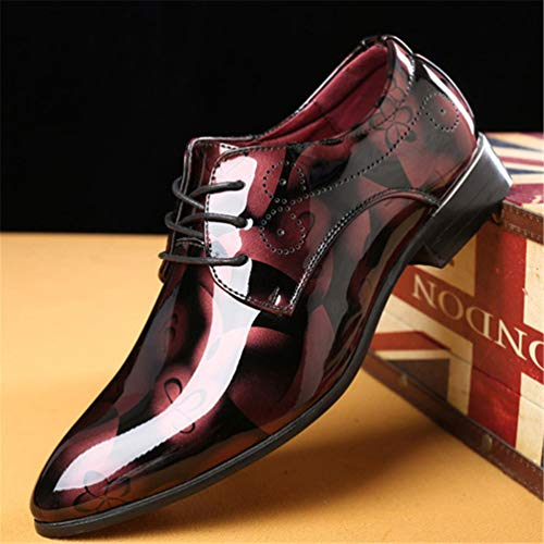 Pelle Gli Scarpe Brevetto in per Business Nozze Uomini Formale Uomini Scarpe Rosso Oxford 6yIcBOv