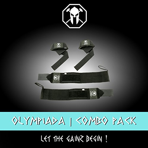 Olympiada Wrist Wraps   Lifting Straps Bundle For Weightlifting  Wod  Crossfit  Workout Gym  Powerlifting  Bodybuilding   Use Gloves  Wraps  And Hooks For Safety   Swag On You