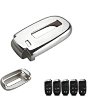 DEWHEL TPU Key Fob Protective Cover Case Dodge Charger Challenger Dart Durango Journey, Chrysler 200 300, Jeep Grand Cherokee, Renegade etc (Chrome Silver)