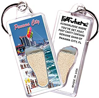"""product image for Panama City """"FootWhere"""" Key Chain (PC103 - @DaBeach). Authentic Destination Souvenir acknowledging Where You've Set Foot. Genuine Soil of Featured Location encased Inside Foot Cavity. Made in USA"""