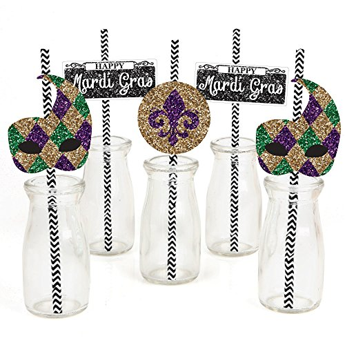 Mardi Gras Paper Straw Decor - Masquerade Party Striped Decorative Straws - Set of 24