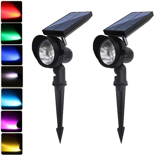 focos solares LED de aluminio de metal, 9 modos de luces solares (cambio y color fijo) para exteriores, seguridad de jardín, lámpara de paisaje, auto encendido/apagado automático, ajustable: Amazon.es: Iluminación