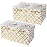 Posprica Large Storage Cubes,Collapsible Storage Bins Boxes Containers Drawers Organizer Baskets for Toy,Clothes,Laundry,13''x13'',4pcs - White/Gold Lantern Pattern