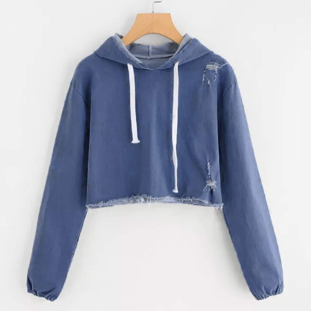 BHYDRY Frauen Casual Denim Langarm Pullover Bluse Shirts Sweatshirt