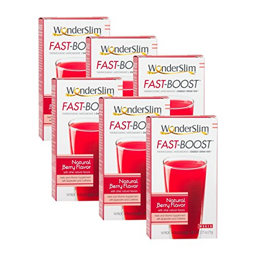 FAST BOOST Thermogenic Energy Boosting Powder Drink Mix by WonderSlim - Antioxidant Drink Mix - With Green Tea, Ginseng, Quercetin and Gingko Biloba – Natural Berry Flavor - 6 Boxes ()