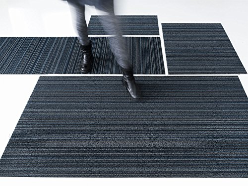 Skinny Stripe Indoor/Outdoor Shag Vinyl Rug, Blue by Chilewich (Big Mat 36'' x 60'', Blue) by Chilewich (Image #1)