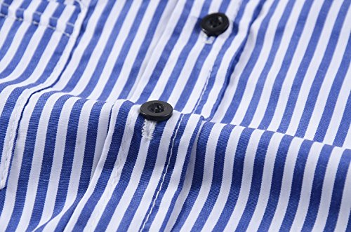 Bleu Shirt T Blouse Revers Longues Rayure Lache Casual et Tops Manches Shirts Chemisiers Printemps Automne Femme q46ZCwC
