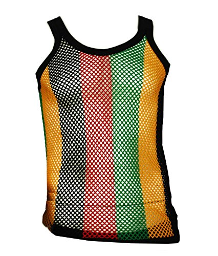Rasta String (Mens Fitted String Mesh VEST Muscle Fishnet Cotton Rasta Multi-Colored Large)