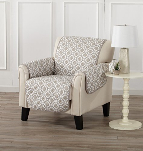 Printed Deluxe Reversible Stain Resistant Furniture Protector with Printed Pattern. Includes Adjustable Elastic Straps. Liliana Collection By Great Bay Home Brand. (Chair, Silver Cloud)