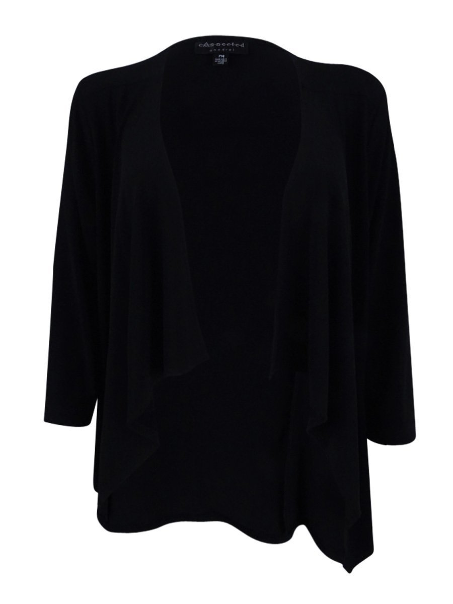 Connected Womens New 1343 Black 3/4 Sleeve Open Cardigan Top S Petites B+B