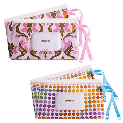 Ava & Kings 4pc Baby Wipes Travel Carrying Case Holder Dispenser Refillable Moist Diaper Wet Wipe Clutch w/Button Strap Unisex Variety Pack |New & Improved Design| Set 1: Rainbow Dots & Pink Damask Dots Baby Wipe Case