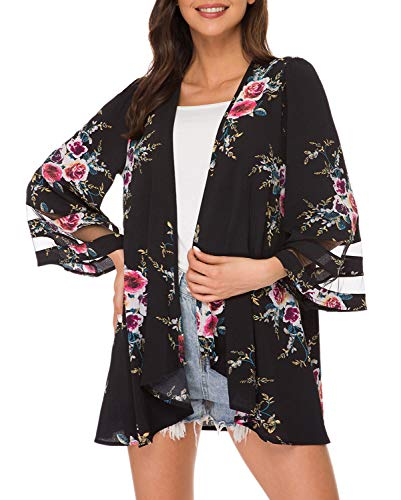 Floral Print Puff Sleeve Kimono Cardigan Loose Cover Up Casual Blouse Tops(S, Black 2)