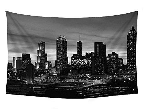 Atlanta Skyline At Sunset Georgia - Wall Tapestry Art For Home Decor Wall Hanging Tapestry 60x40 Inches Black and (Georgia Tapestry)