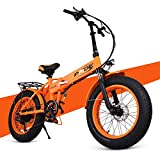 """ENGWE 20"""" Fat Tire Folding Electric Bike Beach Snow Bicycle ebike 48V Electric Moped Electric Mountain Bicycles (Orange)"""
