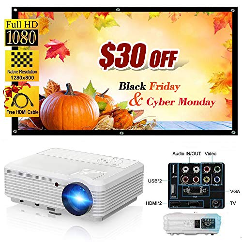 Video Projector HD LED LCD Display 200 3900 Lumen Home Projector Support 1080P for Outdoor Indoor Movie Night, Home Cinema Theater for Cable TV Blu-ray DVD Player Laptop iPhone Smartphone HD Game