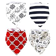Stadela Baby Adjustable Bandana Drool Bibs for Drooling and Teething Nursery Burp Cloths 4 Pack Baby Shower Gift Set for Boys – Pirate Adventure with Treasure Map Skull Anchors Boat Ahoy Stripes