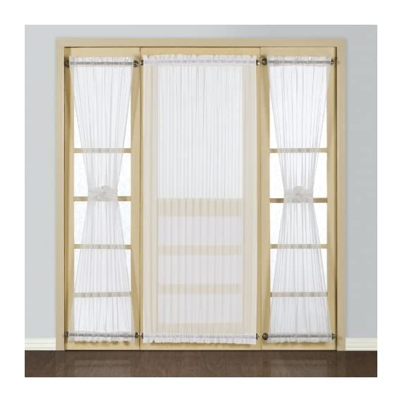 American Curtain and Home Semi-Sheer Door Window Curtain, 40-Inch by 72-Inch, White - Includes one door window panel Fabric Content/Construction: 100% Polyester Care Instructions: Machine Wash Cold, Tumble Dry Low, Cool Iron If Needed, Never Bleach - living-room-soft-furnishings, living-room, draperies-curtains-shades - 51ErMhn84OL. SS570  -