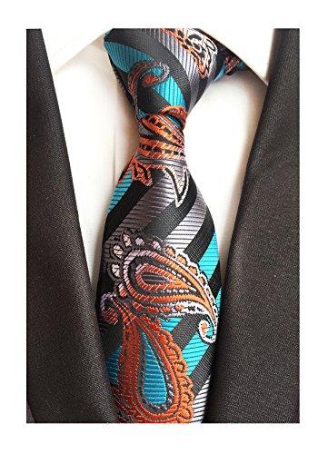 Men Boy Silk Tie Teal Grey Orange Fashion Best Paisley Party Formal Necktie Gift ()