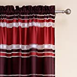 "Bebling 2 Panels Rod Pocket Striped Bright Colors Print Semi-Sheer Curtains - Each Panel Measures 55""W x 102""L"