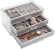 V-HANVER Transparent Jewelry Boxes for Women, 4 Drawers Velvet Jewellery Organizer for Ring Earring Necklace B