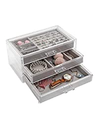 Jewelry Organizer 3 Drawer Velvet Jewellery Box for Women Girls Ring Earring Necklace Bracelet Storage Holder Display Case, Acrylic Clear