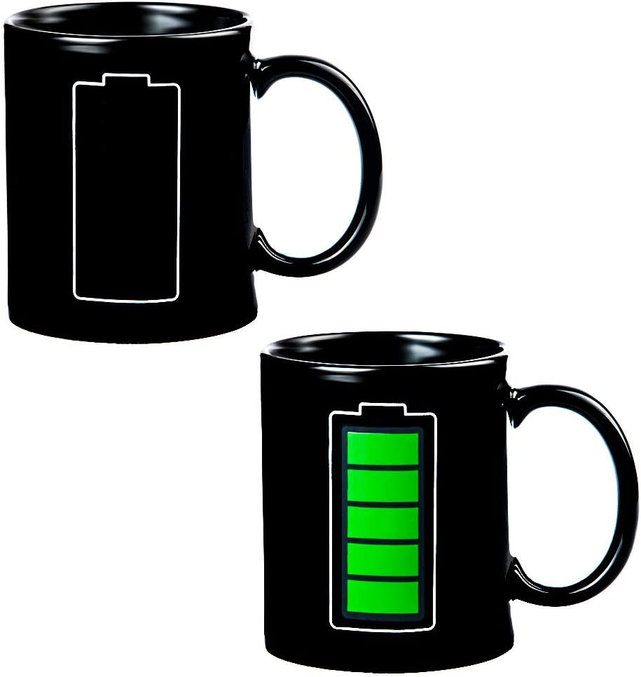 Magic Heat Changing Coffee Mug - Battery Meter Funny Cup, Thermometer Sensitive Porcelain Tea Coffee Cup, 100% Ceramic 10 OZ (Power)