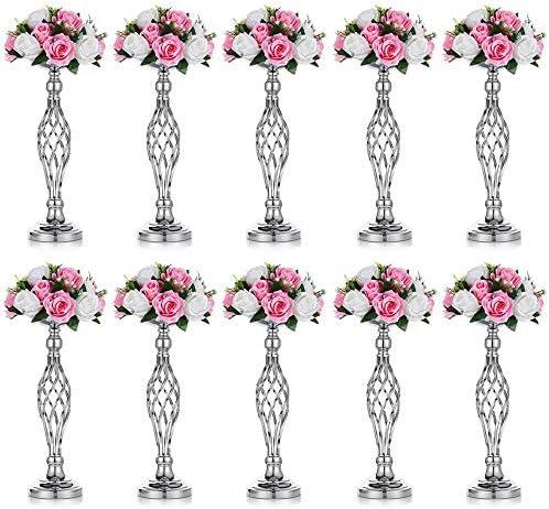 Nuptio Set of 10 Versatile Silver Flower Arrangement Stand