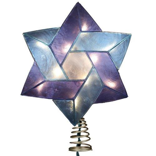 Blue Christmas Topper (Kurt Adler 10-Light Star of David Capiz Colored Christmas Treetop, 8.5-Inch)