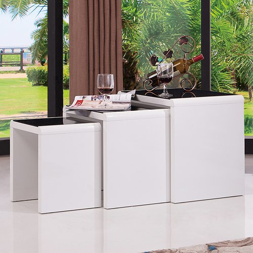 Mecor Nesting Table Set of 3 Glass Side End Coffee Table for Home Dining Room Furniture, White Black ()