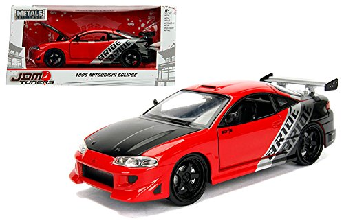 NEW 1/24 W/B JADA METALS - JDM TUNERS COLLECTION - Red 1995 Mitsubishi Eclipse Diecast Model Car By Jada Toys
