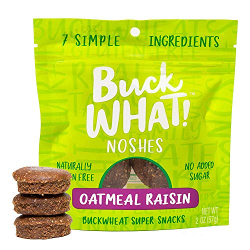 BUCKWHAT! Noshes Buckwheat Super Snack Available in Variety of Flavors - Gluten Free, Vegan, No Sugar Added (Oatmeal Raisin, 6 Pack)