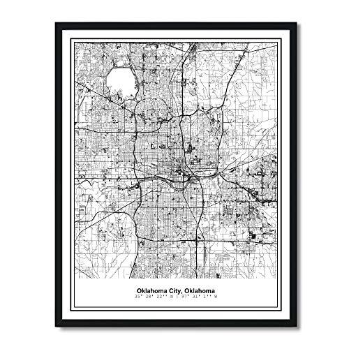 Susie Arts 11X14 Unframed Oklahoma City Oklahoma Metropolitan City View Abstract Street Map Art Print Poster Wall Decor V281 ()