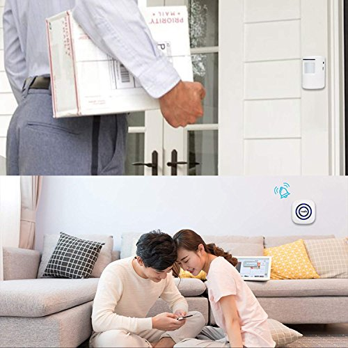 TIVDIO Wireless Home Security Alarm Wireless Driveway Alert Doorbell with 1 Plug-in Receiver and 1 PIR Motion Sensor Detector 38 Melodies to choose for Shop Home Store