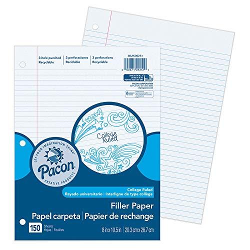 Pacon PACMMK09251BN Filler Paper College Rule 0.28 in. Ruling - Pack of 12