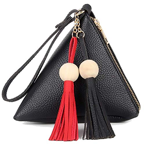 Gifts Bag Purses Tassel Handle,Gifts Wallet Triangle Shape Design for girls-Wristlet Bags PU Leather Tassel Decoration Wooden Balls Design For Women Girls and Ladies Saint Valentine's Day Gifting (Bla