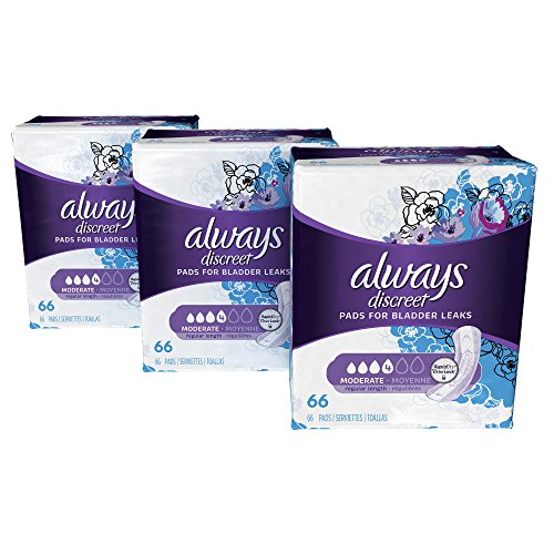Always Discreet Incontinence Pads for Women, Moderate Absorbency, Regular Length, 198 Count (Packaging May - Shield Feminine