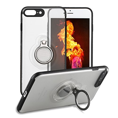 iPhone 8 Plus Case, Yiketec for iPhone 7 Plus Case With Ring Holder Kickstand, 360°rotating Ring Grip Stand Compatible with Magnetic Car Mount Anti-Fingerprint Slim Cover for iPhone 7/8 Plus 5.5 inch