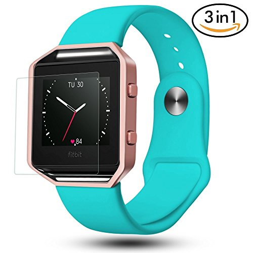 Fitbit Blaze Bands 3 in 1 Watch Wristband Strap Soft Silicone Replacement, Protective Case Cover Rose Gold Frame with Screen Protector,Smart Fitness Watch Classic Bracelet for Men Women (Gold Color Screen)