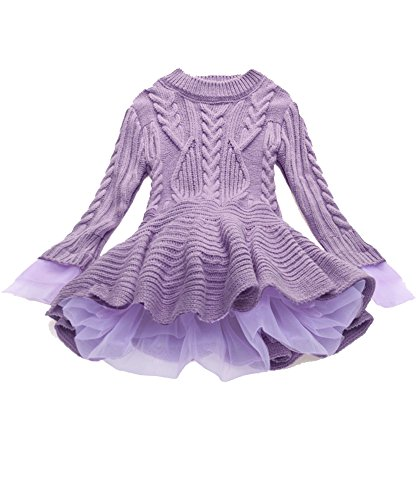 Girls Ruffle Sweater Long Sleeves Tutu Dresses Stitching Knitting Pullover Tops for Kids (Purple,140)