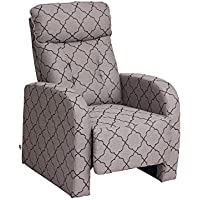 VIVA HOME Fabric Recliner Chair,Grey Lozenge Pattern