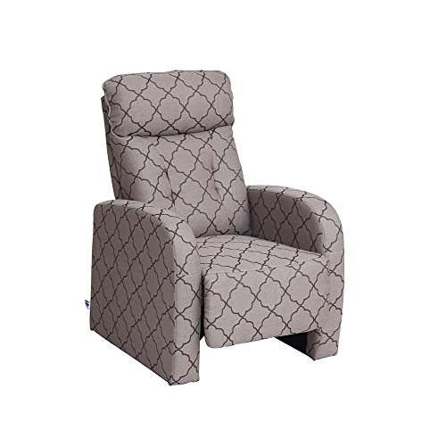 VH FURNITURE VIVA HOME Fabric Recliner Chair,Grey Lozenge Pattern