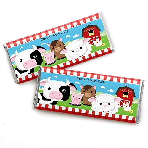 Custom Farm Animals - Personalized Baby Shower or Birthday Party Favors Candy Bar Wrappers - Set of 24 by Big Dot of Happiness