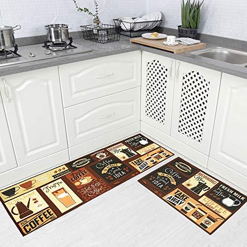 Carvapet 2 Piece Non-Slip Kitchen Rug TPR Anti-Slip Backing Mat for Doorway Bathroom Runner Rug Set, Coffee Design (17