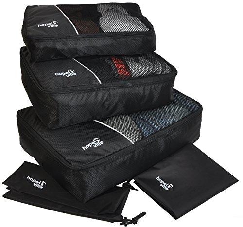 HOPEVILLE Kleidertaschen-Set 5-teilig, 3 Koffertaschen - PLUS Wäschebeutel und Schuhbeutel (Schwarz)